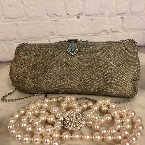 Vintage triple strand pearl necklace w/ silvertone